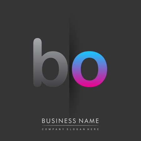 initial logo BO lowercase letter colored grey and blue, pink, creative logotype concept. Çizim
