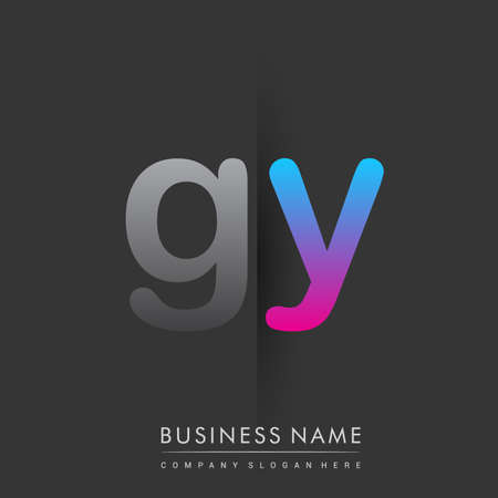 initial logo GY lowercase letter colored grey and blue, pink, creative logotype concept.