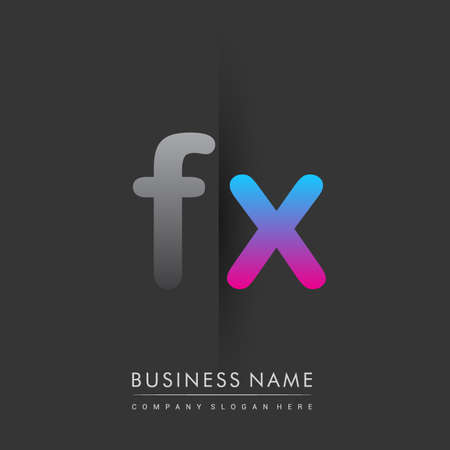 initial logo FX lowercase letter colored grey and blue, pink, creative logotype concept.