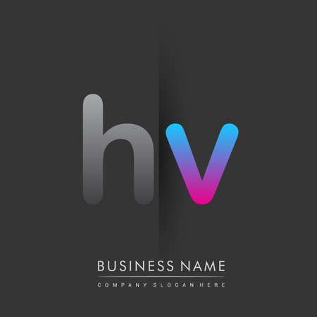 initial logo HV lowercase letter colored grey and blue, pink, creative logotype concept.