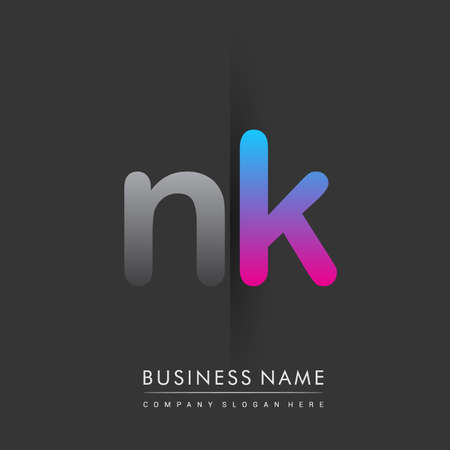 initial logo NK lowercase letter colored grey and blue, pink, creative logotype concept.