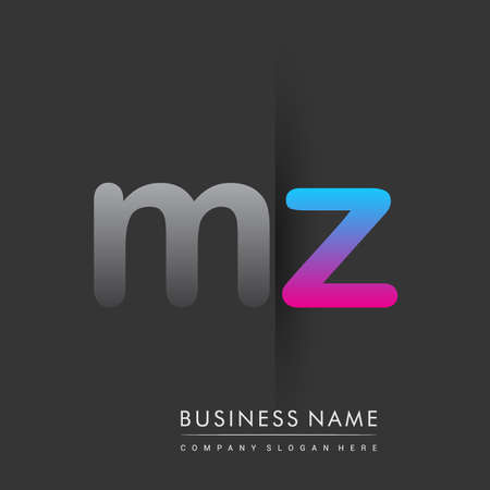 initial logo MZ lowercase letter colored grey and blue, pink, creative logotype concept.