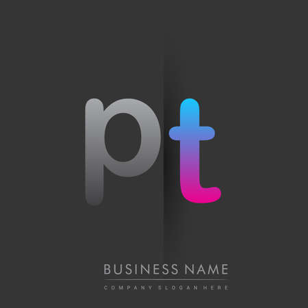initial logo PT lowercase letter colored grey and blue, pink, creative logotype concept.