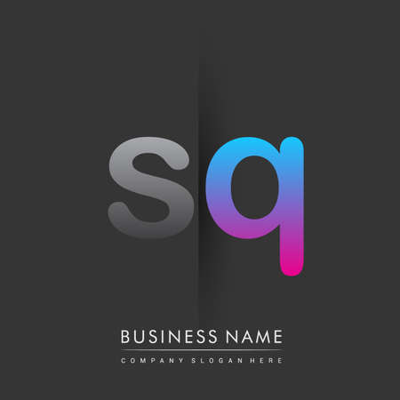 initial logo SQ lowercase letter colored grey and blue, pink, creative logotype concept.