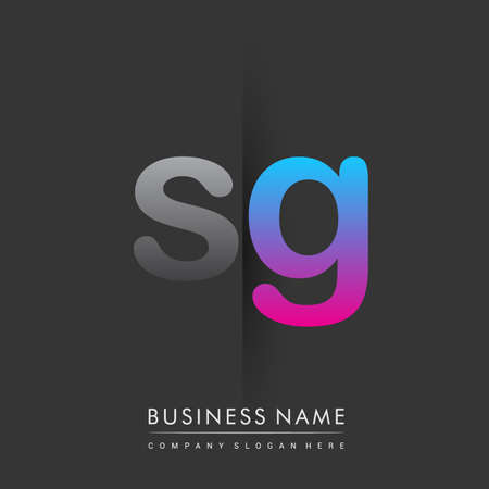 initial SG lowercase letter colored grey and blue, pink, creative icon concept. Illusztráció
