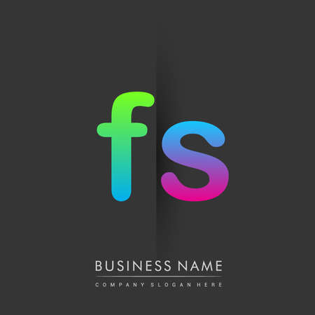 Initial Letter FS Lowercase Logo green, pink and Blue, Modern and Simple Logo Design.