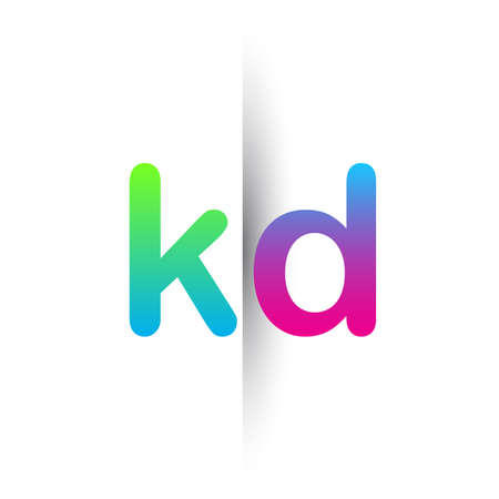 Initial Letter KD Lowercase Logo green, pink and Blue, Modern and Simple Logo Design.