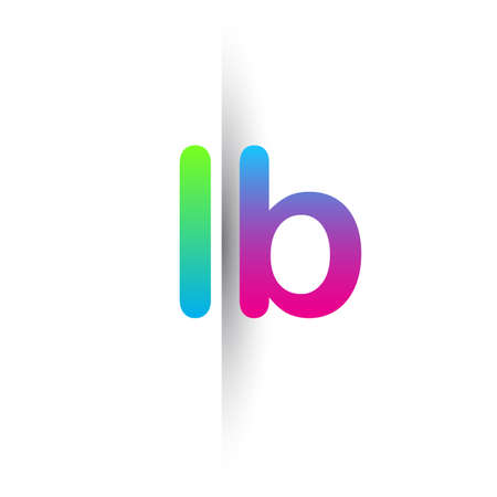 Initial Letter LB Lowercase Logo green, pink and Blue, Modern and Simple Logo Design.