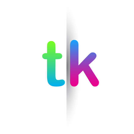 Initial Letter TK Lowercase icon green, pink and Blue, Modern and Simple Icon Design.