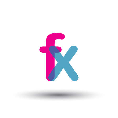 initial FX lowercase letter, blue and pink overlap transparent symbol, modern and simple design.