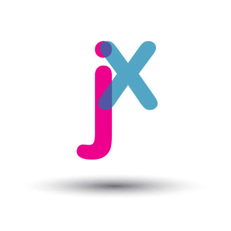 initial JX lowercase letter, blue and pink overlap transparent , modern and simple design.
