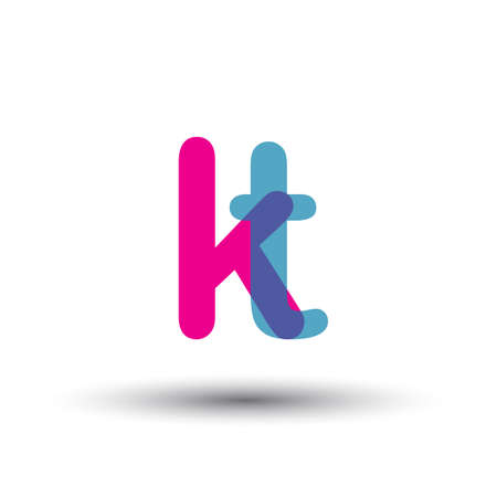 initial KT lowercase letter, blue and pink overlap transparent , modern and simple design.