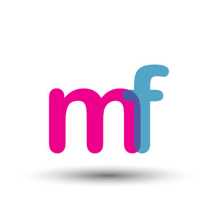 initial logo MF lowercase letter, blue and pink overlap transparent logo, modern and simple logo design.