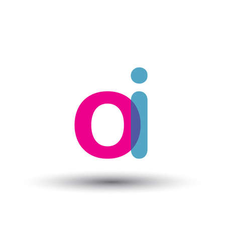 initial logo OI lowercase letter, blue and pink overlap transparent logo, modern and simple logo design.