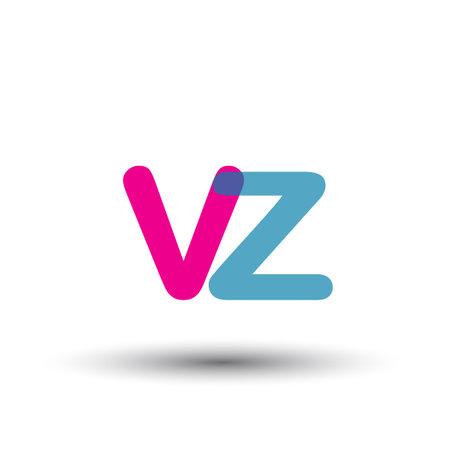 initial VZ lowercase letter, blue and pink overlap transparent , modern and simple design. Vektoros illusztráció