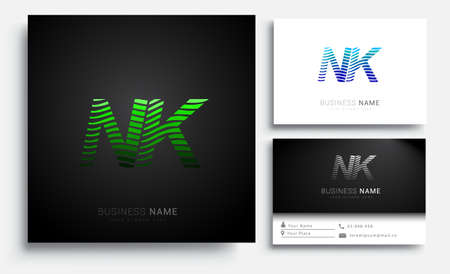 initial letter logo NK colored green and blue with striped set, Vector logo design template elements for your business or company identity