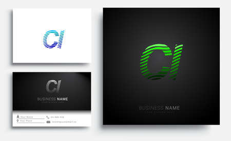 initial letter logo CI colored green and blue with striped set, Vector logo design template elements for your business or company identity