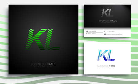 initial letter logo KL colored green and blue with striped set, Vector logo design template elements for your business or company identity Ilustrace