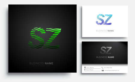 initial letter logo SZ colored green n blue with striped set, Vector logo design template elements for your business or company identity Logó