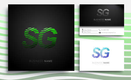 initial letter logo SG colored green n blue with striped set, Vector logo design template elements for your business or company identity Illusztráció