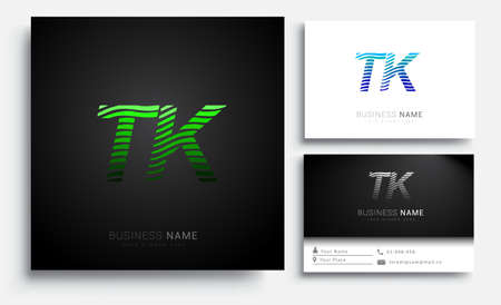 initial letter logo TK colored green n blue with striped set, Vector logo design template elements for your business or company identity Logó
