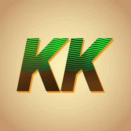 KK initial letter colored green and brown with striped compotition, Vector design template elements for your business or company identity