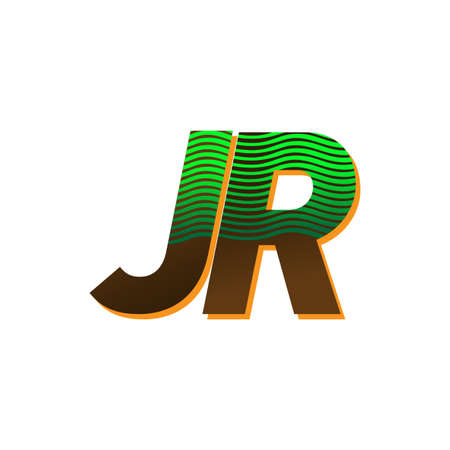 initial letter logo JR colored green and brown with striped compotition, Vector logo design template elements for your business or company identity Иллюстрация