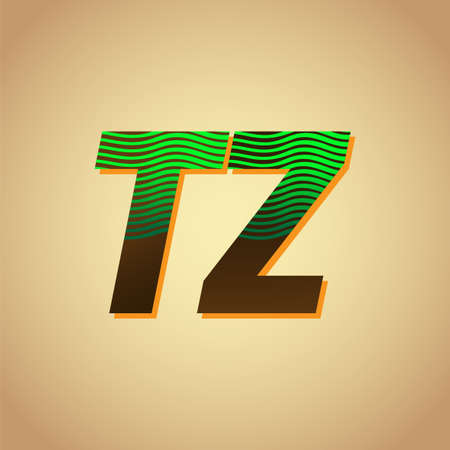 initial letter logo TZ colored green and brown with striped compotition, Vector logo design template elements for your business or company identity Logó
