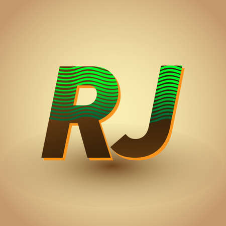 initial letter logo RJ colored green and brown with striped compotition, Vector logo design template elements for your business or company identity