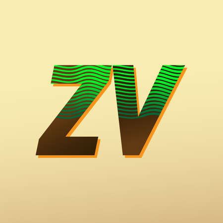 initial letter logo ZV colored green and brown with striped compotition, Vector logo design template elements for your business or company identity Logo