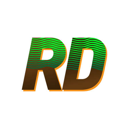 initial letter RD colored green and brown with striped compotition, Vector symbol design template elements for your business or company identity Vektoros illusztráció
