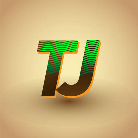 initial letter logo TJ colored green and brown with striped compotition, Vector logo design template elements for your business or company identity Logó