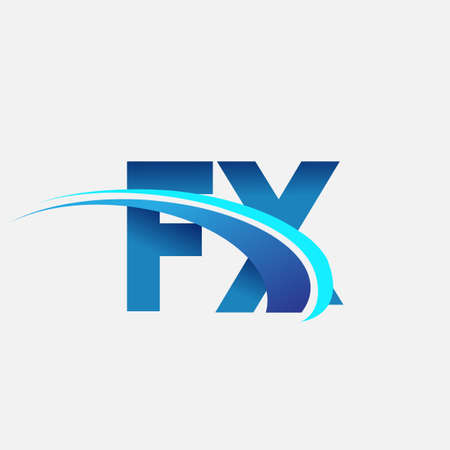initial letter FX company name colored blue and swoosh design. vector symbol for business and company identity. 矢量图像