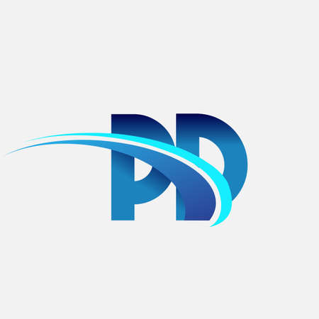 initial letter PD logotype company name colored blue and swoosh design. vector logo for business and company identity. Logo