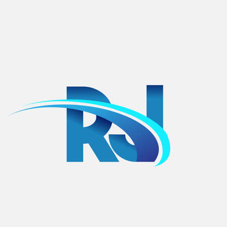 initial letter RJ logotype company name colored blue and swoosh design. vector logo for business and company identity.