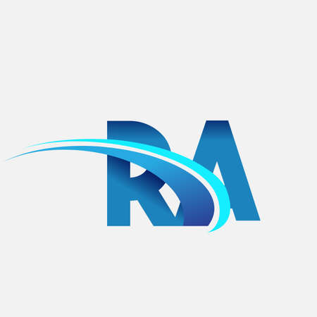 initial letter RA logotype company name colored blue and swoosh design. vector logo for business and company identity. Logo