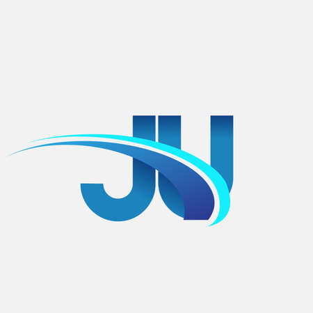 initial letter JU logotype company name colored blue and swoosh design. vector logo for business and company identity.