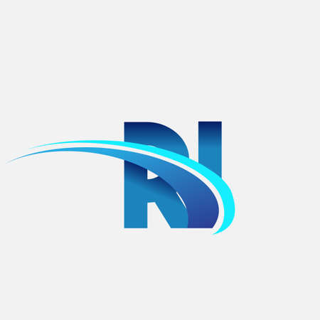 initial letter RI logotype company name colored blue and swoosh design. vector logo for business and company identity.