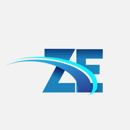 initial letter ZE logotype company name colored blue and swoosh design. vector logo for business and company identity.
