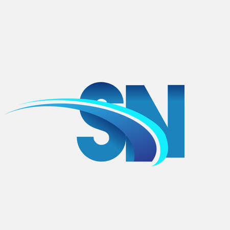initial letter SN   company name colored blue and swoosh design. vector   for business and company identity. 向量圖像