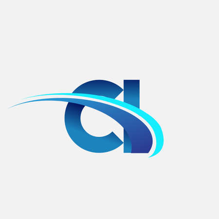 initial letter CI logotype company name colored blue and swoosh design. vector logo for business and company identity. Illusztráció