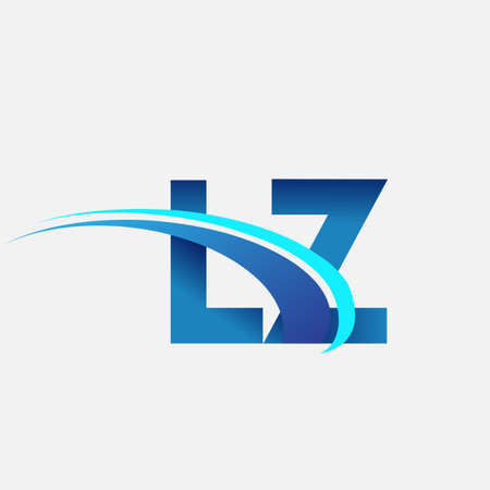 initial letter LZ company name colored blue and swoosh design. vector   for business and company identity. 向量圖像
