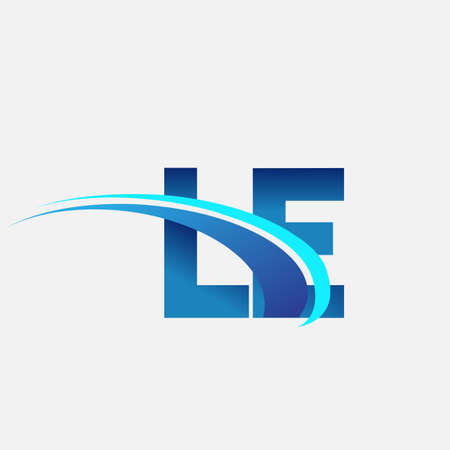 initial letter LE company name colored blue and swoosh design. vector   for business and company identity.
