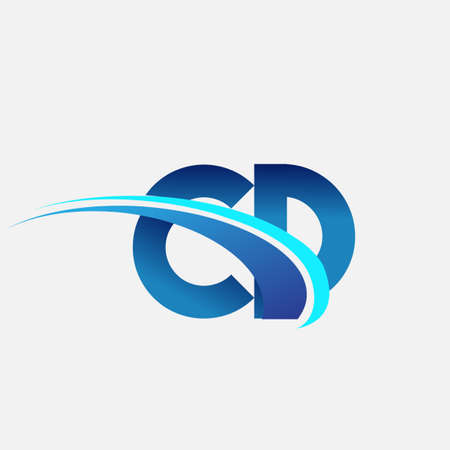 initial letter CD company name colored blue and swoosh design. vector   for business and company identity.