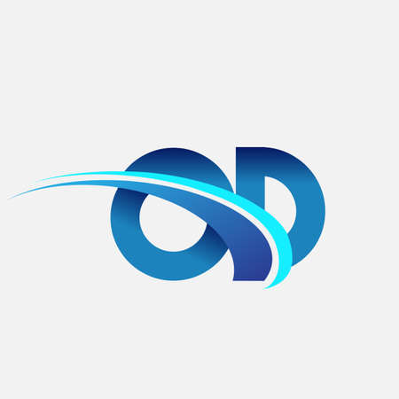 initial letter OD   company name colored blue and swoosh design. vector   for business and company identity.