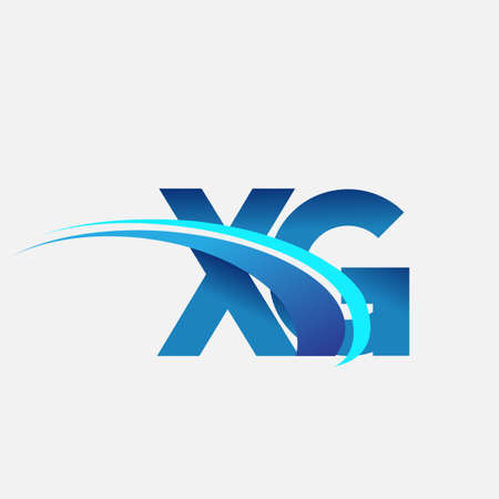 initial letter XG   company name colored blue and swoosh design. vector   for business and company identity. 向量圖像