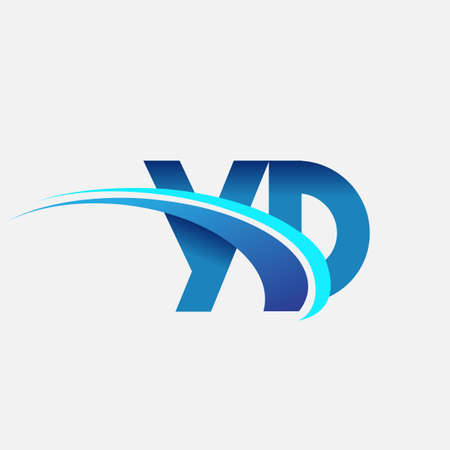 initial letter YD   company name colored blue and swoosh design. vector   for business and company identity. 向量圖像
