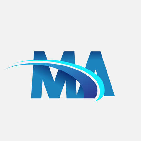 initial letter MA   company name colored blue and swoosh design. vector   for business and company identity.
