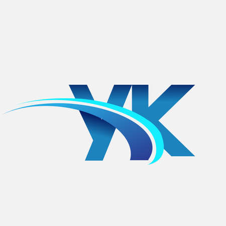 initial letter YK   company name colored blue and swoosh design. vector   for business and company identity. 向量圖像