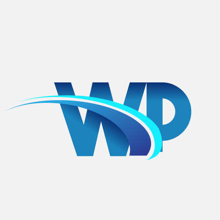 initial letter WP   company name colored blue and swoosh design. vector   for business and company identity.